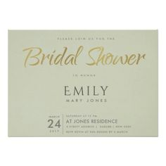 SIMPLE ELEGANT GOLD GREY TYPOGRAPHY BRIDAL SHOWER CARD - anniversary gifts ideas diy celebration cyo unique
