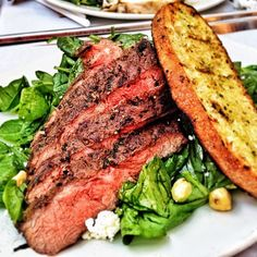 Tender Greens Backyard Steak on Spinach Simple Salad from Instagrammer ajcarterfilms