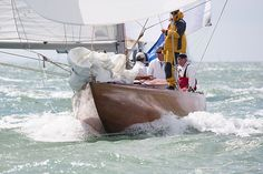 The 8 metre yacht 'Athena', racing in the Solent during Cowes Week 2013