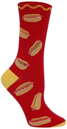 Grillin' season is always here!  Red crew length socks with delicious hot dogs with various toppings and a squiggle of mustard along the top.   Fits women's shoe size 5-10.