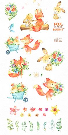 The Great Summer Collection of Best Forest Friends! This Watercolor Bundle of cute Fox and Bunny included Characters, Arrangements, Floral Elements, Leaves and Diy Summer Clothes, Trendy Baby Clothes, Diy Clothes, Cute Illustration, Watercolor Illustration, Cute Drawings, Animal Drawings, Scrapbooking Image, Cute Fox