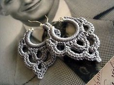Face shapes that look beautiful with crochet earrings crochet earrings bonita crocheted over sterling silver hoop earring in silvery taupe IBYTHCL Crochet Jewelry Patterns, Crochet Earrings Pattern, Crochet Motifs, Crochet Accessories, Crochet Necklace, Crochet Jewellery, Love Crochet, Diy Crochet, Crochet Crafts