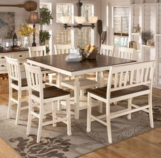 Whitesburg 8-Piece Square Counter Extension Table Set with Double Barstool by Signature Design by Ashley - Gardiners Furniture - Pub Table and Stool Set Baltimore, Towson, Pasadena, Bel Air, Westminster, Catonsville, Maryland