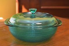 Pyrex RARE - Peacock Tinted Clear Glass Basketweave 2 QT Casserole ...