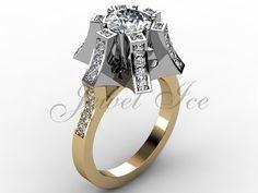 14k deux tons diamants en or jaune et blanc bague de fiançailles floral unique, mariée bague, bague de mariage, bague d