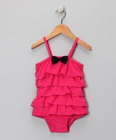 Look what I found on #zulily! Hot Pink Vintage Ruffle One-Piece - Infant & Toddler #zulilyfinds