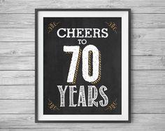70th Birthday Printable Party Decor 4 Unique 8x10 Chalk