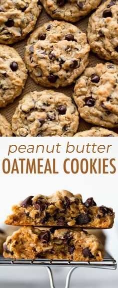 Big fat peanut butter oatmeal chocolate chip cookies are easy, thick, and explod. - Big fat peanut butter oatmeal chocolate chip cookies are easy, thick, and exploding with peanut but - Easy Cookie Recipes, Baking Recipes, Oatmeal Chocolate Chip Cookies, Peanut Butter Cookie Recipes, Big Fat Cookie Recipe, Peanut Butter Oatmeal Chocolate Chip Cookie Recipe, Recipes With Chocolate Chips, Chocolate Chocolate, Cookie Recipe With Oats