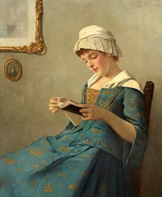 Anders, Ernst (1845-1911) Young woman reading