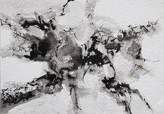 """""""Presagio"""" - Heriberto Zorrilla - Tinta sobre papel 25 x 35 cm 1980 www.esencialismo.com"""