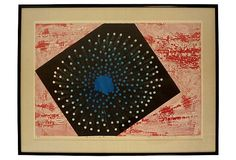 """Striking abstract lithograph, numbered 11/20, dated 1967 and illegibly character-signed in pencil by the artist. The script writing may either be the title, or the artist's name. Displayed under glass with a linen mat in black metal frame. Image, 35.5""""L x 24.5""""H."""