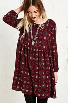 ✔ Urban outfitters burgundy pattern smock dress