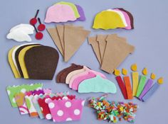 Felt Board Set/ Felt Ice Cream / Felt Cupcakes / Felt Food /