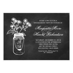 Modern black chalkboard engagement party invitations with wild flowers drawing and mason jar decorated with white vintage lace.