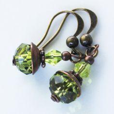 Earrings  Green Faceted Bead Earrings  by EveryBeadofMyArt on Etsy, $10.00