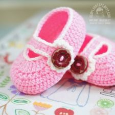 Mary Jane Baby Booties - Pink