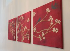 Wall Art Cherry Blossom Tree Branch and Birds on Canvas