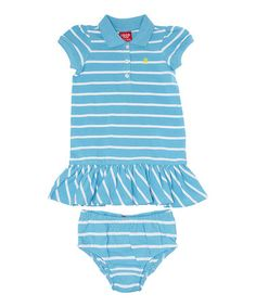 This Blue & White Stripe Polo Dress - Toddler by IZOD is perfect! #zulilyfinds