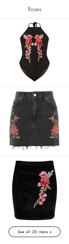 """""""Roses"""" by tintedhearts ❤ liked on Polyvore featuring shorts, skirts, mini skirts, bottoms, short mini skirts, mini skirt, short skirts, embroidered mini skirt, embroidered skirt and circle skirts"""