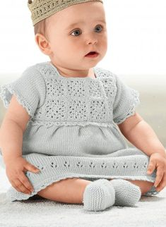 Little Angel perfect color & design/crochet Baby Girl Patterns, Baby Knitting Patterns, Knitting Wool, Knitting For Kids, Little Dresses, Little Girl Dresses, Knit Baby Dress, Baby Pullover, Baby Sweaters