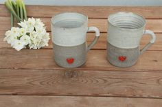 2 pottery large matte pottery hot drinks mugs with red heart, pottery wedding