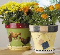 Fancy Flower Pots  Dress up a plain clay pot with some fabric, paint and Mod Podge® and you'll have a pretty and functional home for your plants. Courtesy of Plaid®