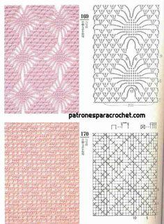 200 patrones crochet de puntos ✅ Knitting Stiches, Crochet Stitches Patterns, Crochet Motif, Stitch Patterns, Crochet Placemats, Modern Crochet, Crochet Instructions, Chrochet, Diy And Crafts