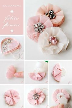 How-to-make-a-fabric-flower-headband hair accessories diy fabric flowers Inspirational Monday – Do it yourself (diy) Flower series – Fabric Flower Handmade Flowers, Diy Flowers, Flowers In Hair, Flower Hair, Tulle Flowers, Wedding Flowers, Beautiful Flowers, Headband Flowers, Flower Brooch