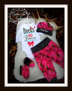 """Baby Girls Camo Coming home outfit set Body Suit /Pants Realtree camouflage with booties and hat """"bucks and bows"""" Arrows and antlers by ChickenCoopBoutique on Etsy"""