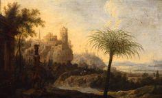 Italianate Landscape with Classical Ruins, Dutch, c. 1650, oil on canvas, 91.11. #palmermuseumofart