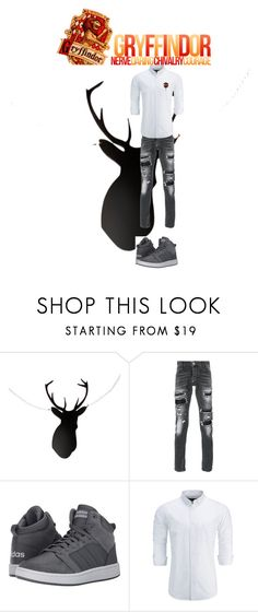 """James Potter"" by sara598d on Polyvore featuring Philipp Plein, adidas, men's fashion and menswear"