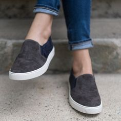 Cool color-block kid suede and stitched-on cap-toe detail revamps the Gemma slip on for fall. Designed with the thick rubber soles you love for laid-back comfort and sporty durability. - Leather upper