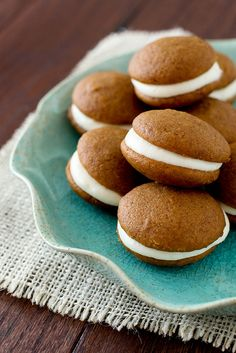 Pumpkin Whoopie Pies with Cream Cheese Frosting. Had these on Saturday and they're amazing! Will be making them for Thanksgiving this year!