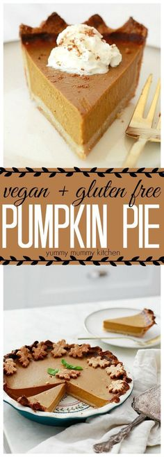 This delicious vegan and gluten free pumpkin pie is made with a dairy free, egg free, coconut milk filling and almond flour crust! This vegan, gluten-free pumpkin pie has all the classic pumpkin pie flavor without the guilt. Dairy Free Pumpkin Pie, Vegan Pumpkin Pie, Pumpkin Pie Recipes, Pumpkin Pies, Pumpkin Pie Recipe With Coconut Milk, Coconut Recipes Vegan, Vegan Pie, Cooking Pumpkin, Coconut Sugar