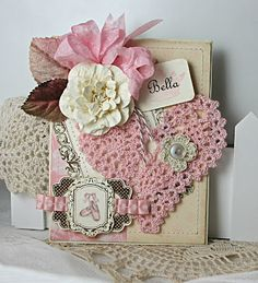 Lovely Shabby Valentine Card...with vintage style crocheted lace heart.