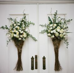 pretty green + white for the church doors | A Bryan Photo #wedding
