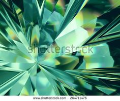 3d abstract emerald green crystal background, faceted glass - stock photo