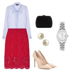 """""""Working with children with cancer engagement"""" by dresslikearoyal on Polyvore featuring Rochas, Diane Von Furstenberg, Serpui, Gianvito Rossi, Carolee and Rolex Casual Dresses, Fashion Dresses, Skirt Fashion, Classy Women, Classy Lady, Emma Style, Church Outfits, Outfit Combinations, Work Wardrobe"""