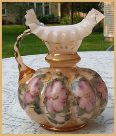 """Vintage Fenton Champagne Overlay Pale Pink Melon 8"""" Hand Painted Gilded Pitcher 
