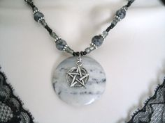 Portoro Marble Gemstone Pentacle Necklace, wiccan jewelry pagan jewelry wicca jewelry goddess mystic pentagram witchcraft metaphysical witch