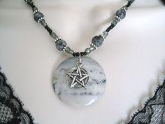 Portoro Marble Gemstone Pentacle Necklace, wiccan jewelry pagan jewelry wicca jewelry goddess mystic pentagram witchcraft metaphysical witch