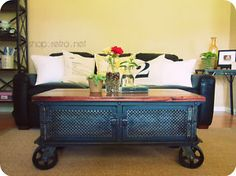 French Industrial Ellis Coffee Table / Vintage Cart