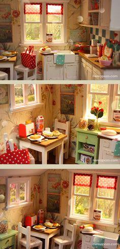 ♥ Custom Handmade Diorama AUTUMN KITCHEN♥     Around 16 cm dolls: Middie Blythe, Lati yellow, pukifee , tiny betsy , licca, pure nee...