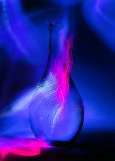 Blue and Pink | light painting, light brush, long exposure, still life, bottle, neon, night