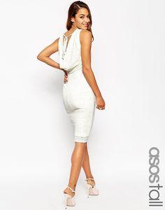 ASOS TALL Cowl Back Sparkle Midi Dress