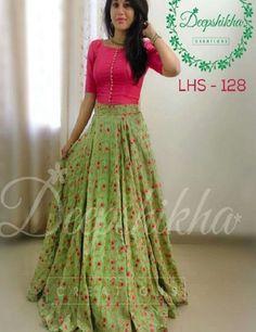 Buy Pink & Green Embroidered Banglori Silk Lehenga Choli online in India at best price. Party wear lehenga choli combination to woo the on lookers. Lehenga Choli Designs, Saree Blouse Designs, Ghagra Choli, Dress Designs, Indian Designer Outfits, Indian Outfits, Designer Dresses, Long Gown Dress, Lehnga Dress