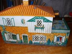 1950's Metal Tin Doll House Parts or Repair Needs Paint Vtg Missing 3 SML Pieces | eBay