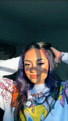 Hair Color Streaks, Hair Color Purple, Hair Dye Colors, Green Hair, Hair Highlights, Blue Hair, 90s Grunge Hair, Short Grunge Hair, Hairstyles With Bangs