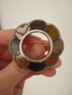 Beautiful LARGE, DOMED 19thC SCOTTISH Victorian AGATE & Solid SILVER BROOCH Pin