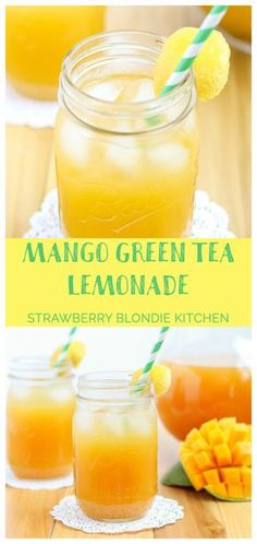 Mango Green Tea Lemonade is the perfect thirst quencher for those long hot days of summer. Sweet mangoes pair perfectly with sour lemons and the bright taste of green tea making this drink both refreshing and addictive - Strawberry Blondie Kitchen Mango Green Tea, Green Tea Lemonade, Green Teas, Lemonade Drink, Green Tea Drinks, Mango Iced Tea, Lemonade Tea Recipe, Mango Lemonade, Juice Smoothie